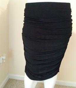 Torrid women's black ruched bodycon skirt